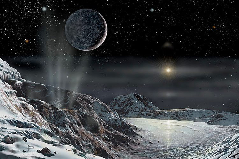 Pluto and Charon (credit: David A Hardy, www.astroart.og)