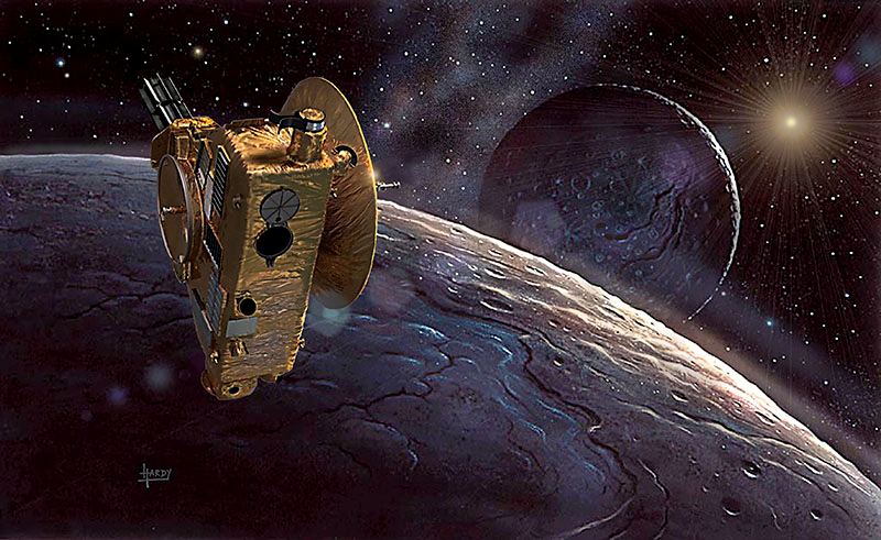 Artistic depictions of New Horizons (credit: David A Hardy, www.astroart.com)