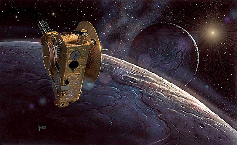 Artistic depictions of New Horizons (credit: David A Hardy, www.astroart.com)