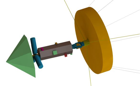 Figure 7: CranSEDS spacecraft design. The left image depicts the spacecraft bus with payload. The three cylindrical objects are the RTGs.