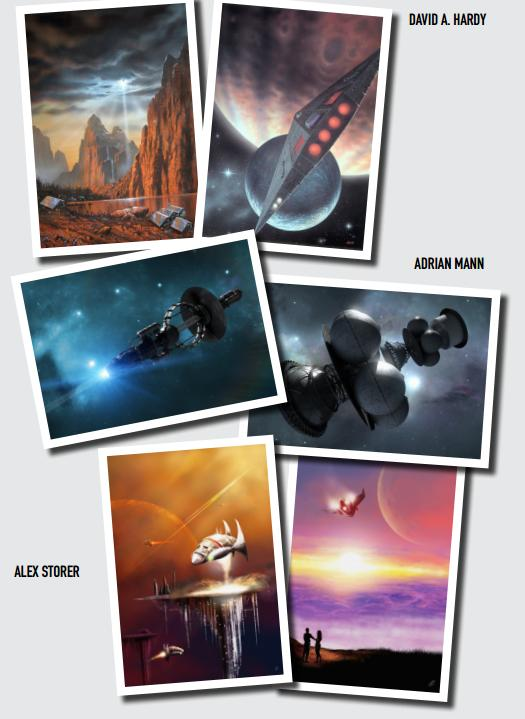 interstellar themed postcards